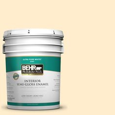 BEHR Premium Plus 5-gal. #320A-2 Provence Creme Zero VOC Semi-Gloss Enamel Interior Paint