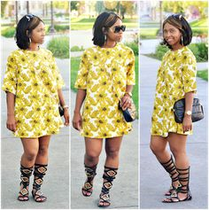 "Outfits ~ ""Sweenee Style"" Lovin' the black medium high gladiator sandals! African Print Dresses, African Print Fashion, African Dress, African Prints, Everyday Casual Outfits, Casual Summer Outfits, Cute Outfits, Casual Dresses, Yellow Fashion"