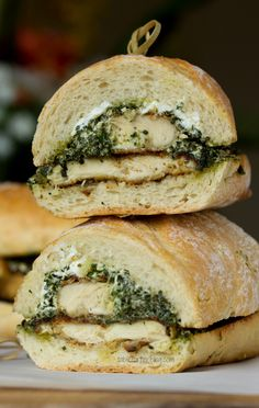 Goat Cheese Pesto Chicken Sandwich.  I might switch up the cheese and add some fresh tomato slices, but this looks yummy!
