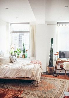 Image of: modern bedroom rug decorating modern farmhouse living room rug cowhide in rugs for Bohemian Bedroom Decor, Bohemian Style Bedrooms, Trendy Bedroom, Modern Bedroom, Modern Bohemian, Layered Rugs Bedroom, Modern Wall, Boho Decor, Bohemian Curtains