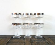 vintage mad men chic silver rimmed champagne coupe glasses by compostthis, $68.00