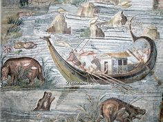 Mosaic showing Nile landscape in Egypt, Hellenistc, 2nd-1st century BC. Museo Archeologico Nazionale, Palestrina, Lazio.