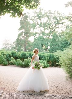 A Classic Love Story via oncewed.com #wedding #bride #weddingdress #bouquet #spring #ivory #tulle #green