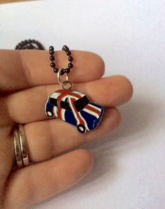 Red, Blue and White British Flag on a Mini Cooper Car Charm Pendant Necklace by GeektasticCreations on Etsy https://www.etsy.com/listing/497170361/red-blue-and-white-british-flag-on-a