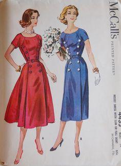 Vintage 1958 McCall's Misses' Women's Dress Pattern 4435 Size