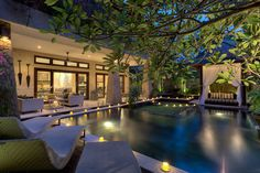 Night relaxing by the pool, Amanputri Villa.