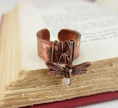 dragonfly copper pipe ring by jadejudzuart via etsy | Dishfunctional Designs: Pipe Dreams: Copper Pipe Jewelry
