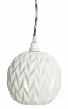 Housedoctor Lampenschirm/Hängelampe DESIGN aus Keramik mit Relief, weiß, 17 cm