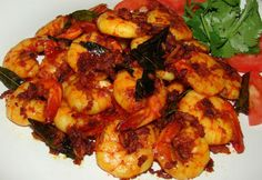Andhra Prawn Fry A delicious, spicy and simple starter or side dish. #recipe