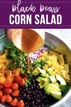 Black bean and corn salad with a tangy chili lime vinaigrette is the perfect summery salad. Loaded with fresh corn, black beans, avocados and veggies, it is going to disappear first at your next barbecue! Veg Salad Recipes, Avocado Recipes, Drink Recipes, Corn Avocado Salad, Corn Salads, Healthy Salads, Healthy Recipes, Healthy Food, Pork Tenderloin Marinade
