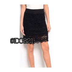 Black or Ivory Crocheted Lace Midi Skirts Very nice quality crochet lace midi skirts in color black or Ivory. Lined with elastic waist. Black skirt size small, ivory skirt size small, medium & large Dresses