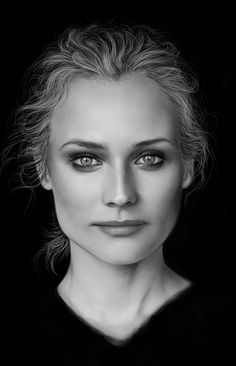 """Diane Kruger"" - Nedko {figurative realism art beautiful female head monochromatic face portrait #hyperreal cropped digital painting} vannenov.deviantart.com"