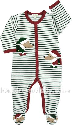 Newborn Dachshund Stripe Footie | Home| Boys | Boys Clothes by Style | Coveralls & Footies