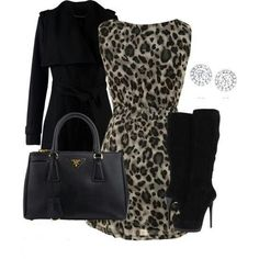 prada. animal print dress. black coat and boots