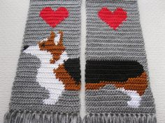 Tricolor Corgi Scarf.  Gray crochet scarf with Welsh corgi dogs.  Scarves with Pembroke welsh corgis and red hearts.
