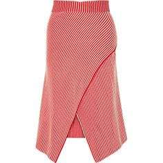 Jonathan Saunders Serle wrap-effect striped cotton-blend midi skirt ($1,070) ❤ liked on Polyvore featuring skirts, red, red midi skirt, wrap midi skirt, wrap skirt, pastel skirt и foldover skirt