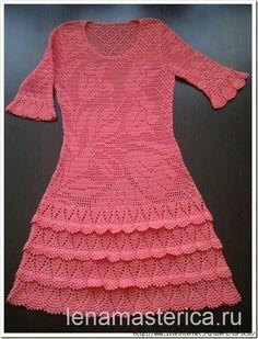 crochelinhasagulhas: Vestido rosa de crochê
