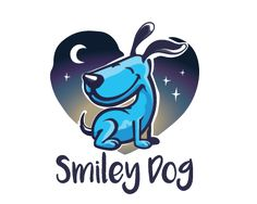 Smiley Dog Logo design - A cute mascot logo featuring happy blue dog, it has a dark blue and purple elements on it with lighter blue for accents. The logo has a night theme.<br />Below the dog symbol there is a handwritten style typography. Price $600.00