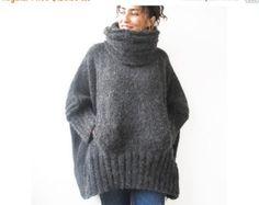 20 % dhiver vente foncé gris tricoté à la main robe-pull à par afra