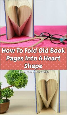 DIY Heart Shaped Book Folding Video Tutorial - Learn how to turn an old book into a work of art with this book page folding tutorial. Create a heart shape with those pages to display your book anywhere beautifully. Diy Old Books, Old Book Crafts, Book Page Crafts, Upcycled Crafts, Easy Crafts, Diy And Crafts, Kids Crafts, Paper Crafts, Book Page Roses