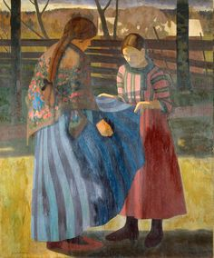 Two Girls, Juho Vilho Rissanen - Finland Figurative Kunst, Nordic Lights, Hermitage Museum, Nordic Art, Sculpture, Art And Illustration, Art Google, Painting Inspiration, Les Oeuvres