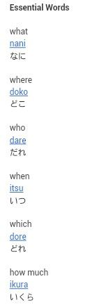Essential Japanese Conversational Words