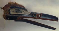 unknown Kwakwaka'wakw artist (Kwakwaka'wakw), Raven Mask, ca. 1900, red cedar, red cedar bark, paint, and string. Portland Art Museum.