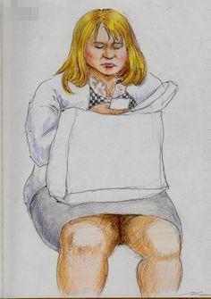 金髪のお姉さん It is a sketch of the woman dressed in checked pattern. I drew on the train going to work.