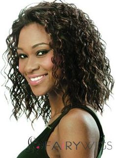 Custom Lace Front Medium Black 100% Indian Remy Hair Wigs for Black Women