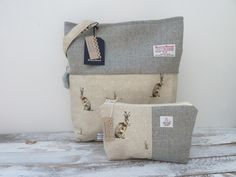 Harris Tweed & UK Designed Hare Cotton Tote Bag www.thecrimsoncoo.etsy.com