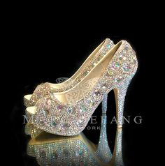 Wedding Shoes, AB Crystals, Iridescent Snow Diamond Peep Toe Platform Luxury, Wedding Heels on Etsy, $249.00