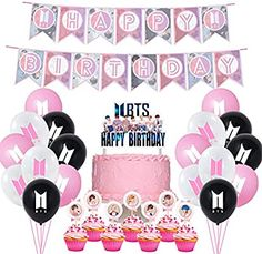 BTS Birthday Party Supplies Includes Banner - Cake Topper - 21 Cupcake Toppers - 20 Balloons for Girl Bts Happy Birthday, Make Birthday Cake, Happy Birthday Banners, Birthday Cake Toppers, Cupcake Toppers, Cajas Silhouette Cameo, Birthday Party Decorations, Birthday Parties, Bts Cake