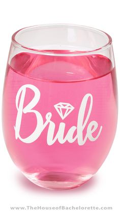 A stunning Bride cup is a Must-have for every Bachelorette Party! Choose this stemless Bride wine glass - perfect for any type of cocktail, and easy to pack for a destination bachelorette party! Wine Glass Sayings, Wine Glass Crafts, Bottle Crafts, Bachelorette Wine Glasses, Bachelorette Party Gifts, Bridal Wine Glasses, Bridal Shower Gifts, Bridal Showers, Bride Gifts