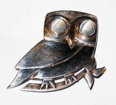 Sterling Silver Owl Brooch with Moonstone Eyes by StolaStore, $75.00