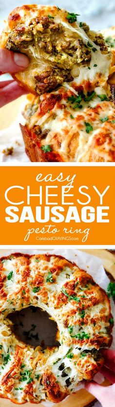 Easy Cheesy Sausage Pesto Ring is SO ADDICTING! my husband and I couldn't stop eating it and then I was craving it for days! You have to make this!!! The absolutely best holiday or game day appetizer! via @carlsbadcraving