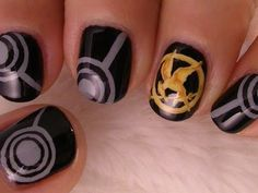 Hunger Games nail design. Hoping I'll have enough time to do these before the movie.