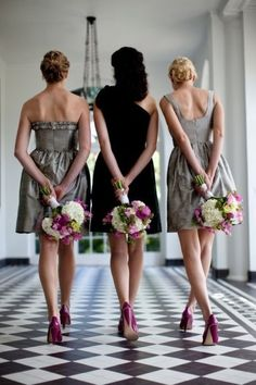 i love this. The muted dress colors really make the bouquets stand out. I like long dresses, but if I opted for short, this is a really good option
