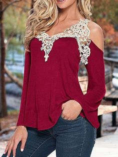 Bell Sleeve Contrast Lace Hollow Out Burgundy T-shirt 10.83