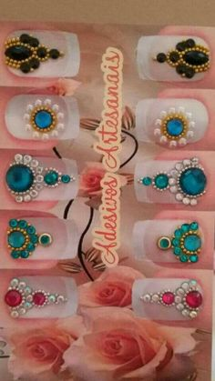 New Nails Art Tutorial Spring Ideas Nail Jewels, Nail Art Rhinestones, Rhinestone Nails, Bling Nails, Swag Nails, Trendy Nail Art, New Nail Art, Cool Nail Art, Winter Nail Designs