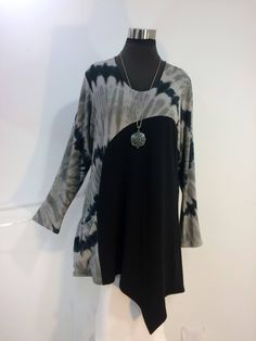 Plus size 2X tie dye tunic top with long sleeves, pocket and asymmetrical hemline in bamboo blend fabric. by qualicumclothworks on Etsy