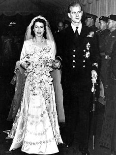 QUEEN ELIZABETH & PRINCE PHILIP As heir to the British throne, the then-princess, 21, married the 26-year-old naval officer – who, prior to their wedding, denounced his title as Prince of Greece and Denmark to become Lt. Philip Mountbatten – before 2,500 guests at Westminster Abbey on November 20, 1947.