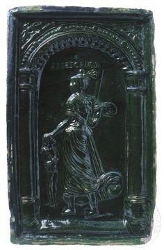 """Rétorika - ženská alegorická postava s dítětem a atributem meče. Nahoře nápis: """"RHETORICA"""". Z cyklu sedmera svobodných umění."""