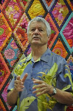 Blog about quilt workshop with Kaffe Fasset ...... @Sarah Whitmore  the quilt behind him is amazing and it is similar yo the African basket lady quilt I showed you today
