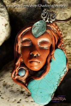 Elven Princess Pendant-unique gift for her turquoise slap sea sediment jasper aqua tropical waters terracotta jewelry glow in the dark leaf