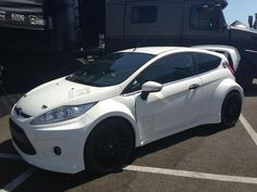 All white Ford Racing Ford ST Fiesta.