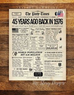Free Scrapbook Paper, Birthday For Him, Walgreens Photo, 45 Years, Birthday Decorations, Newspaper, Signs, Etsy