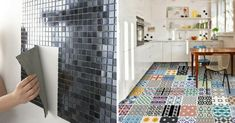 Carrelage Adhésif : Avantages et Inconvénients Decor, Small Kitchen, Flooring, Tile Floor, Contemporary Rug, Contemporary, Home Decor, Home Staging, Deco
