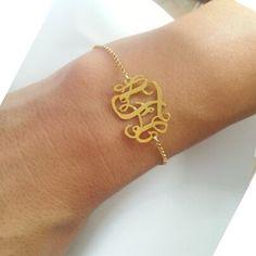 Gold monogram bracelet,Personalized monogram bracelet,sterling silver plated 18k gold,Personalized gift for women