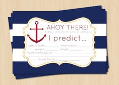 DIY Printable Blue and White Nautical Baby Shower Advice and Prediction Card on Etsy, $6.50