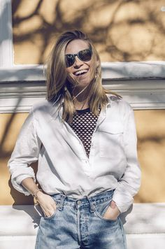 So, yesterday I went out with my Czech friend and photographer Nikol Herec and took some pictures in the nice weather (yes, it actually was, omg). I wore something that I think I are going t… Good Vibes Only, Going Out, Ruffle Blouse, Style Inspiration, Denim, How To Wear, Stuff To Buy, Tops, Sunglasses